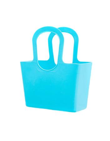 Blue plastic bag isolated on white background. photo