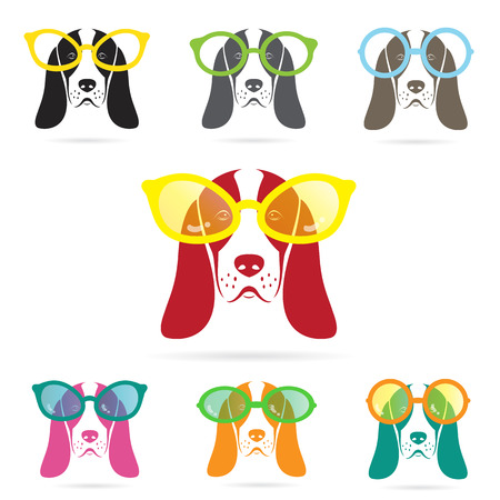 Vector images of basset hound dog wearing glasses on white background. Vector