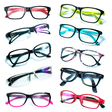 protective spectacles: Group of Beautiful glasses isolated on white background Stock Photo