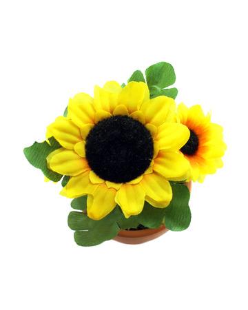 Fake sunflower in the vase on white background photo