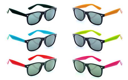 sunglasses isolated: Group of Beautiful sunglasses isolated on white background
