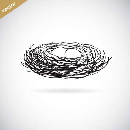 nest egg: Vector image of an birds nest on white background