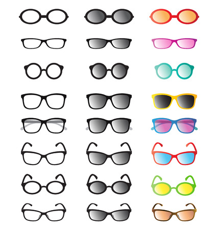 group of an glasses and sunglasses on white background. Vector