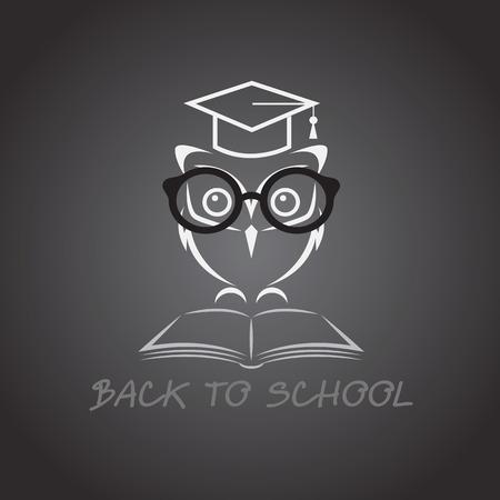 graduacion caricatura: imagen de un b�ho con gafas sombrero de la universidad y el libro