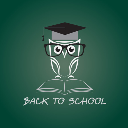 image of an owl glasses with college hat and book Vector
