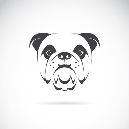 french style: Vector image of an dog face (bulldog) on white background