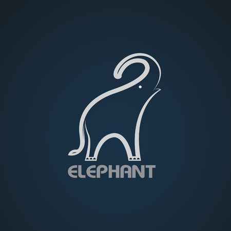 elephant trunk: Vector image of an elephant design on a blue background