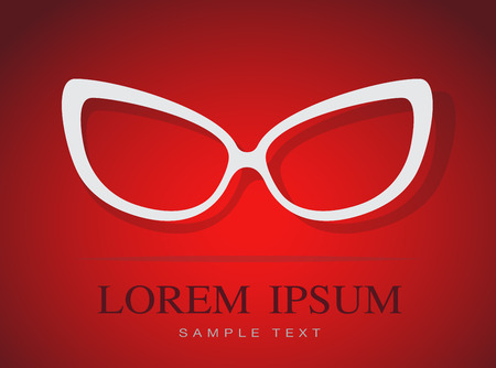 Vector image of Glasses white on red background. Vector