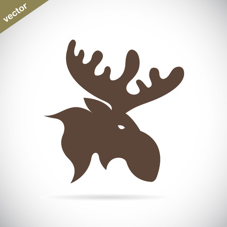 moose antlers: Vector images of moose deer head on a white background. Illustration