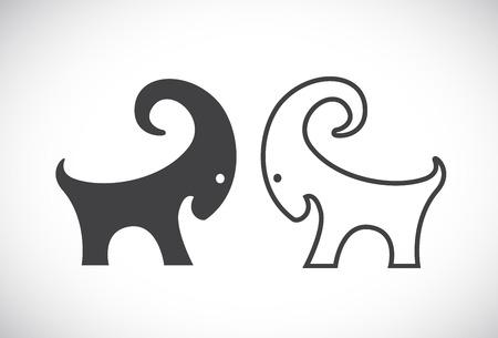 capricornio: Imagen vectorial de un diseño de cabra en el fondo blanco