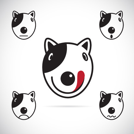Vector images of Bull terrier face on a white background.