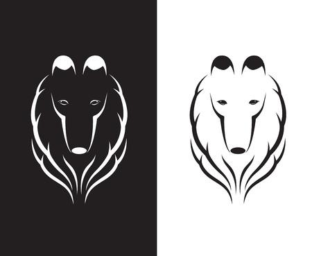 shetlander: Vector afbeeldingen van shetland herdershond hoofd op een witte en zwarte achtergrond.
