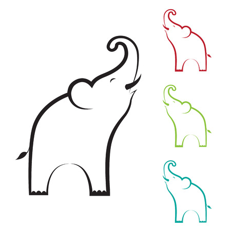 Vector image of an elephant design on white background Vector