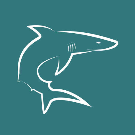 Vector image of sharks on blue background Vector