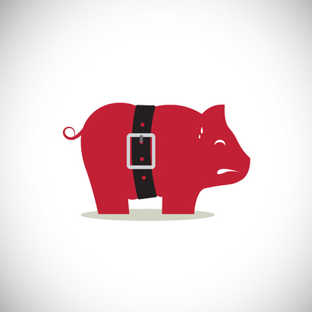 poor diet: Pink pig piggy bank with tight belt isolated on white background. Illustration