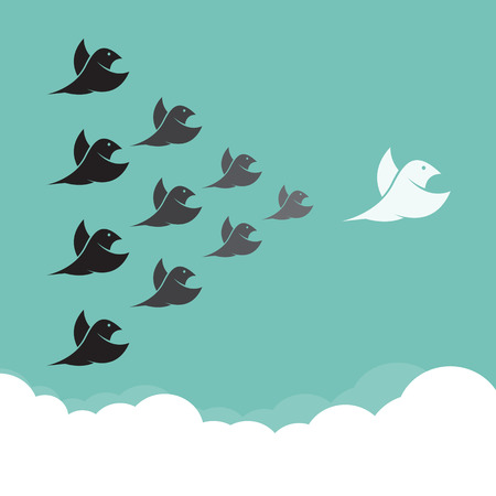 flying geese: Flock of birds flying in the sky,  Leadership concept
