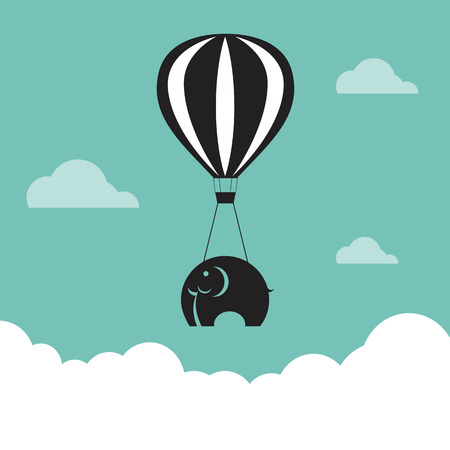 Vector image of elephant with balloons in the sky. Vector