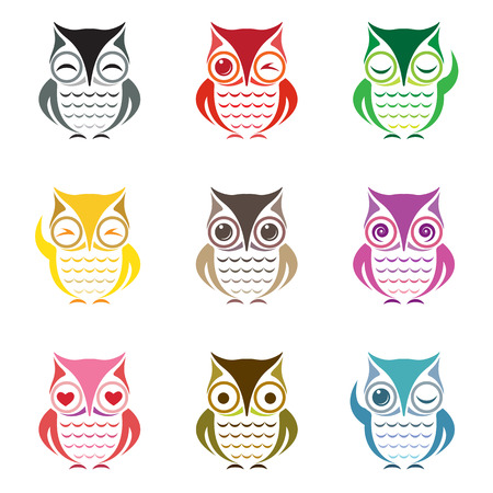 Vector group of owl on white background Vector