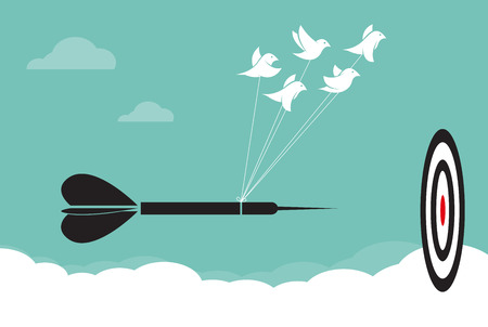 perseverance: Vector image of birds with darts target aim in the sky, Represents the unity