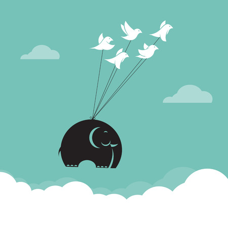 Vector image of bird and elephant in the sky, Represents the unity Ilustrace