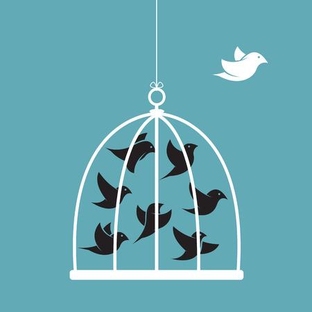 délivrance: Vecteur d'image d'un oiseau dans la cage et à l'extérieur de la cage. Concept de liberté