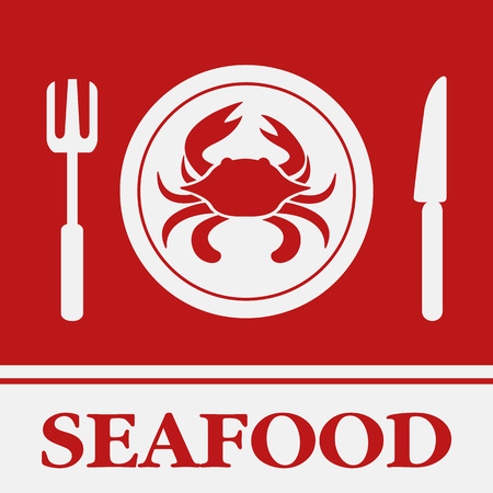 Crab, Fork and Knife icon, restaurant sign Vector