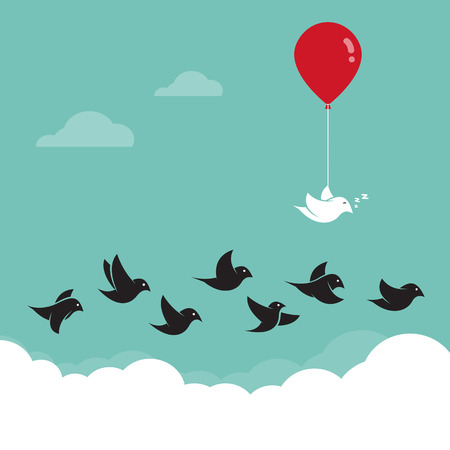 apt: Birds flying in the sky and red balloons. Concept creative Illustration