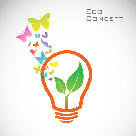 liberate: Vector bulb and  butterflies and leaves. eco concept Illustration