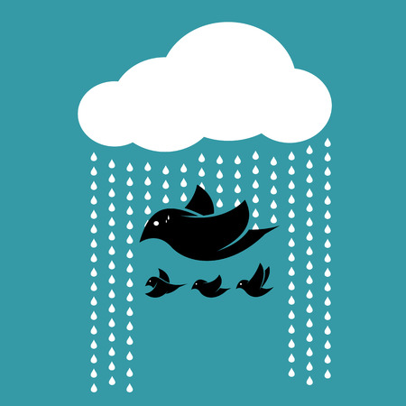 rains: Birds flying in the sky when it rains. Concept of sacrifice Illustration