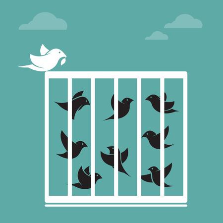 d�livrance: Vecteur d'image d'un oiseau dans la cage et � l'ext�rieur de la cage. Concept de libert�