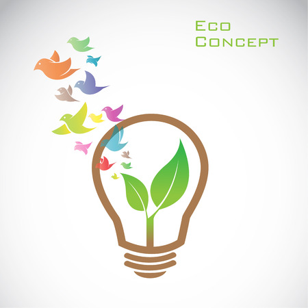 liberate: Vector bulb and birds and leaves. eco concept