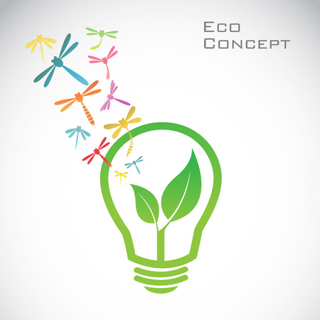 Vector bulb and dragonfly and leaves  eco concept Vector