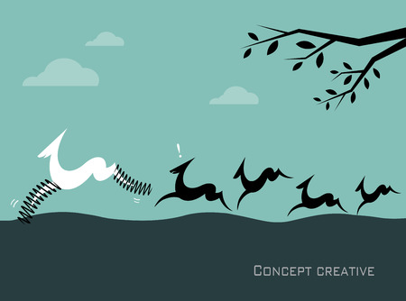 apt: Silhouette of a herd of deer on blue background  Concept creative