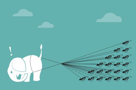 hormiga caricatura: Elefante y cuerda de hormiga tirando juntos Concepto de unidad