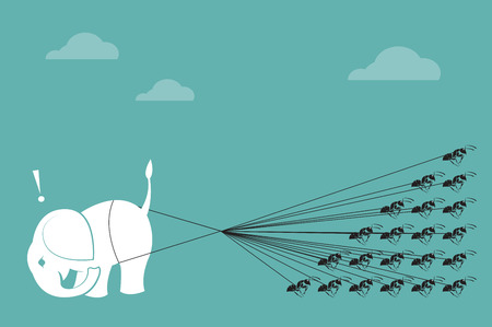 cartoon ant: Elephant and ant rope pulling together  Concept of unity Illustration