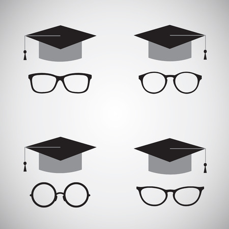 trencher: Vector image of an hat and glasses  Education icon   Illustration