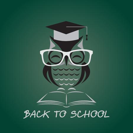 buho graduacion: Vector de imagen de un b�ho con gafas sombrero de la universidad y el libro