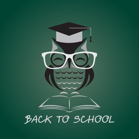 Vector image of an owl glasses with college hat and book Vector