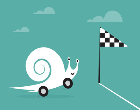 faster: Snail on wheels like a car  Concept of speed and success