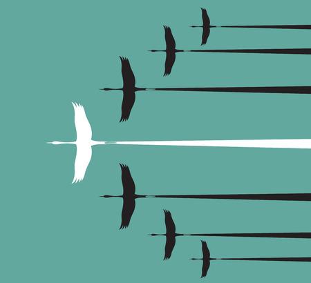follow the leader: Flock of stork flying in the sky, Leadership concept Illustration