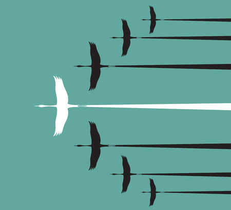 Flock of stork flying in the sky, Leadership concept Illustration