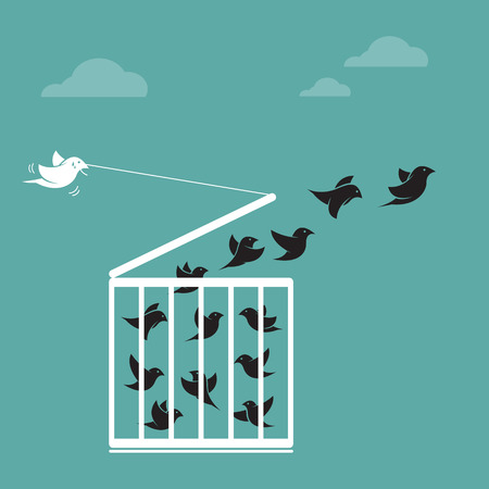 liberate: Vector image of a bird in the cage and outside the cage. Freedom concept