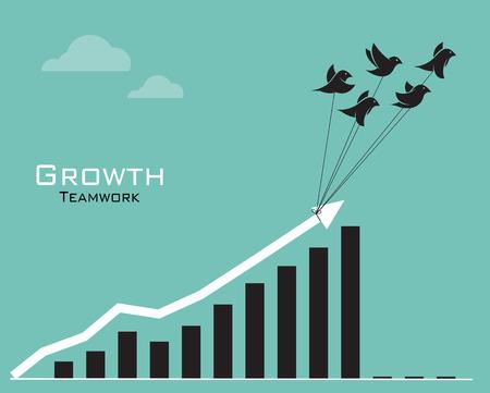 incremento: Imágenes vectoriales de aves y gráfico de negocio sobre fondo azul