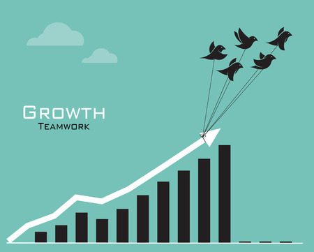 sales team: Vector images of birds and business graph on blue background Illustration