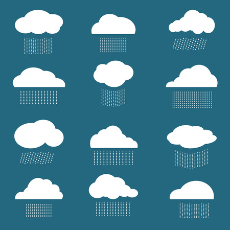 Vector image of cloud and rain on blue background Vector