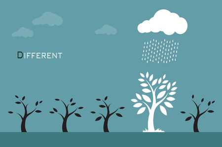 Vector images of trees, clouds and rain. Different concepts