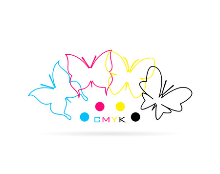 offset printing: group of butterfly colored cmyk print on white background. Illustration
