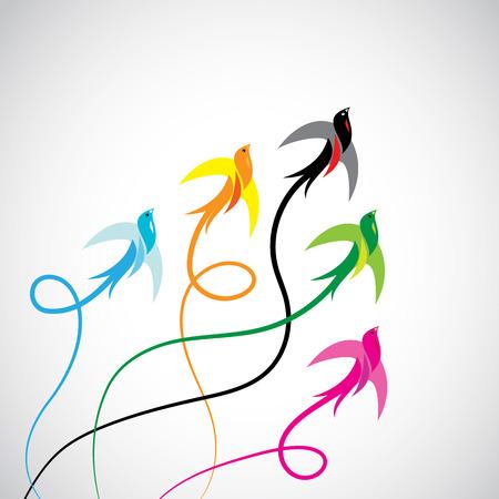 voador: Grupo de p�ssaros andorinha coloridas em um fundo branco.