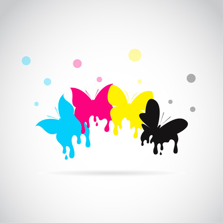color drops: group of butterfly colored cmyk print on white background. Illustration