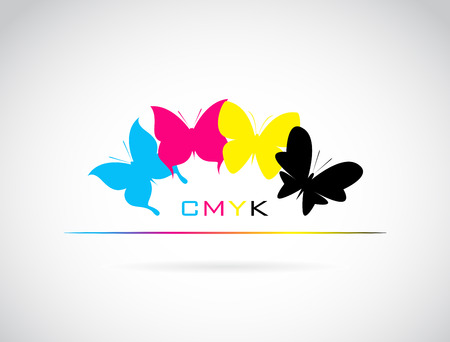 cmyk abstract: group of butterfly colored cmyk print on white background. Illustration